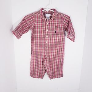 NEW Ralph Lauren Plaid Baby Boy Romper Outfit 6 Mo